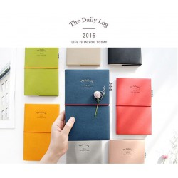 2015 Leather Daily Log Book Diary (Medium)
